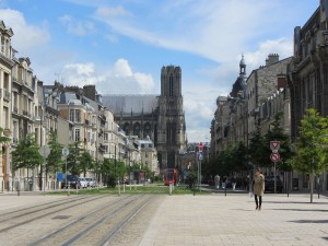 Reims tramway and cathedral